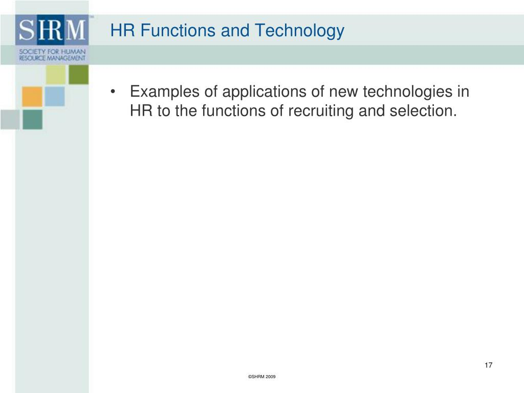 HR Functions and Technology