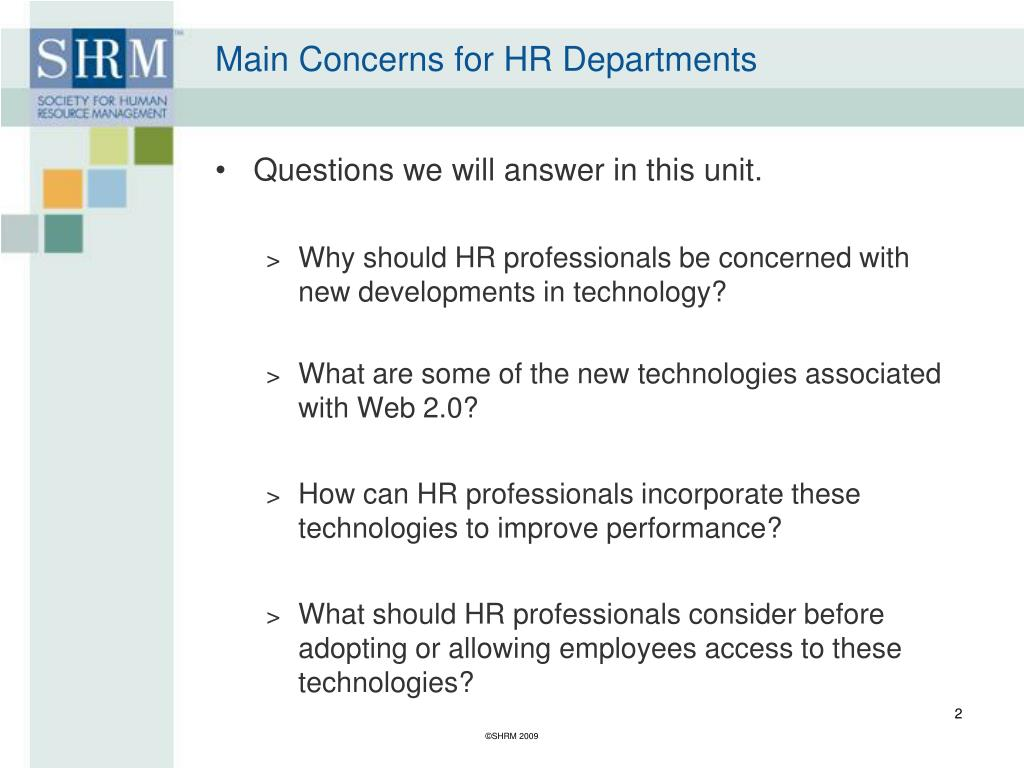 Main Concerns for HR Departments