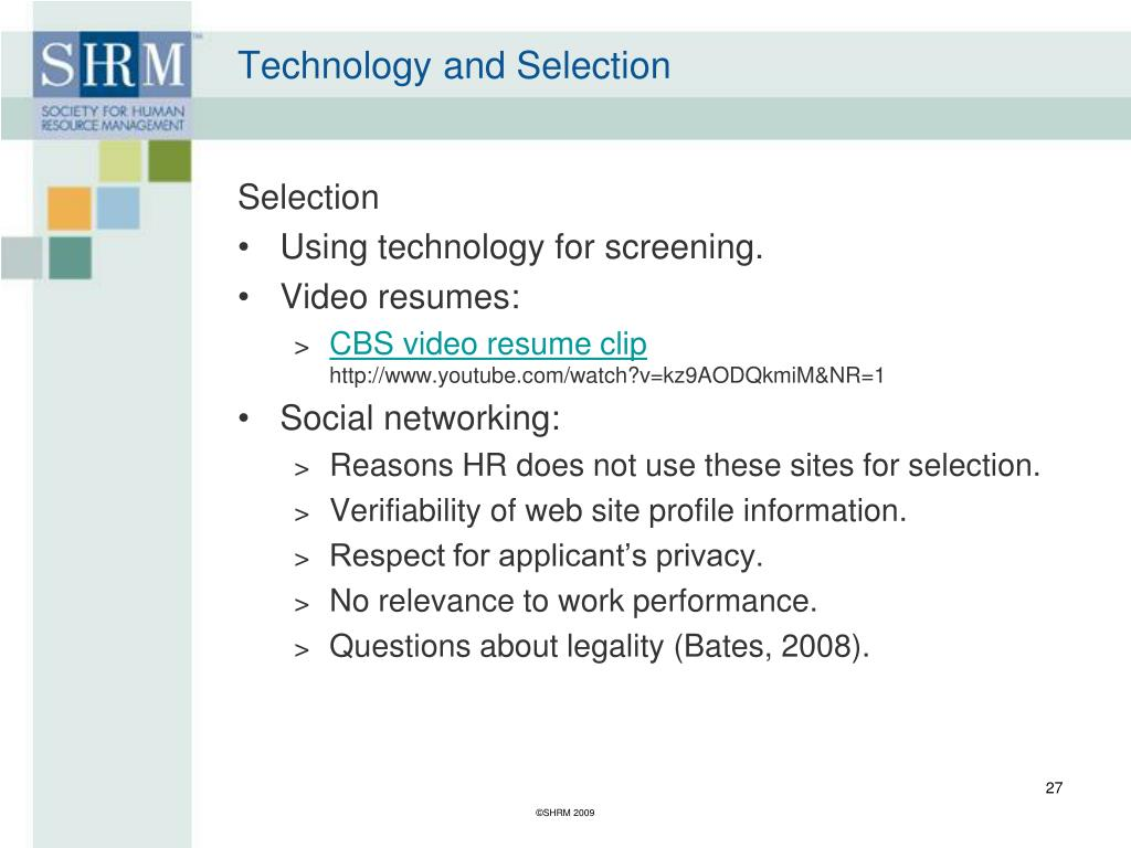 Technology and Selection