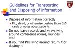 guidelines for transporting and disposing of information46