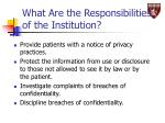 what are the responsibilities of the institution