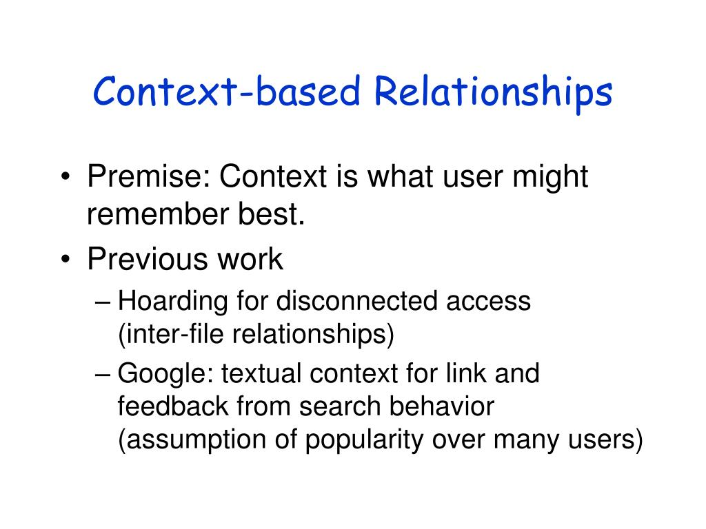 Context-based Relationships