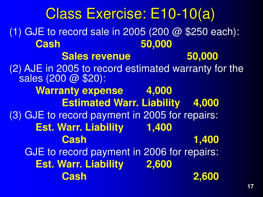 (1) GJE to record sale in 2005 (200 @ $250 each):