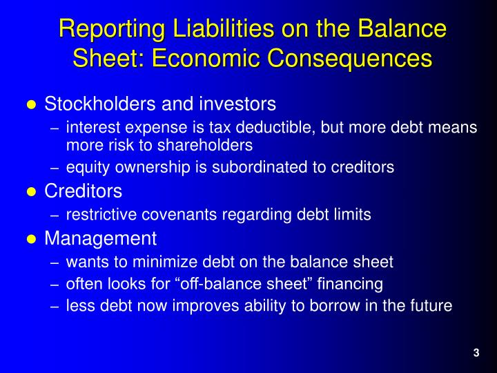 Reporting liabilities on the balance sheet economic consequences