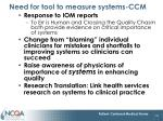 need for tool to measure systems ccm