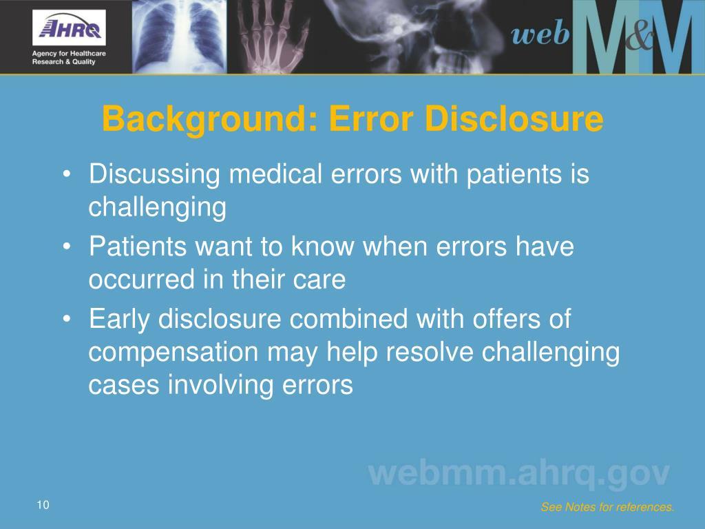 Background: Error Disclosure
