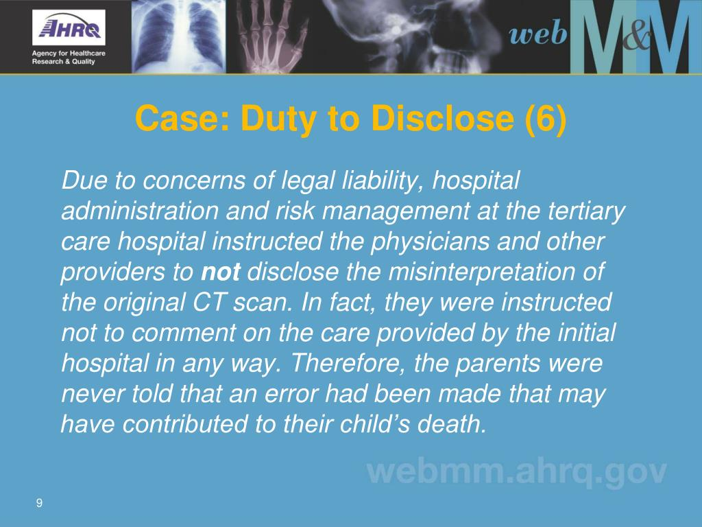Case: Duty to Disclose (6)