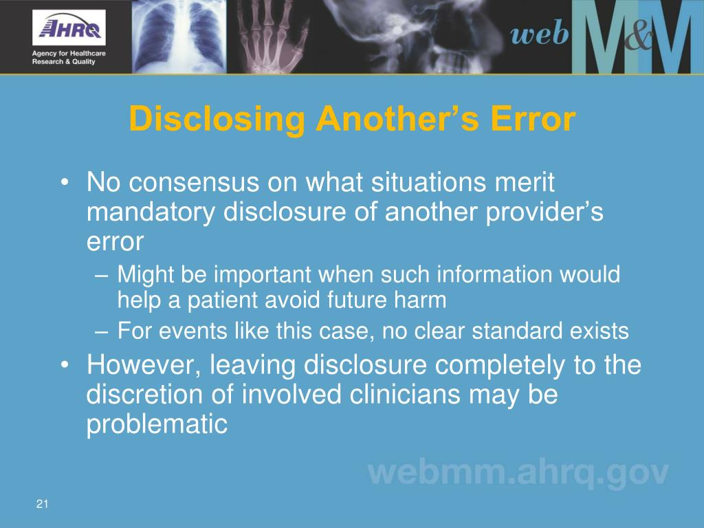 Disclosing Another's Error