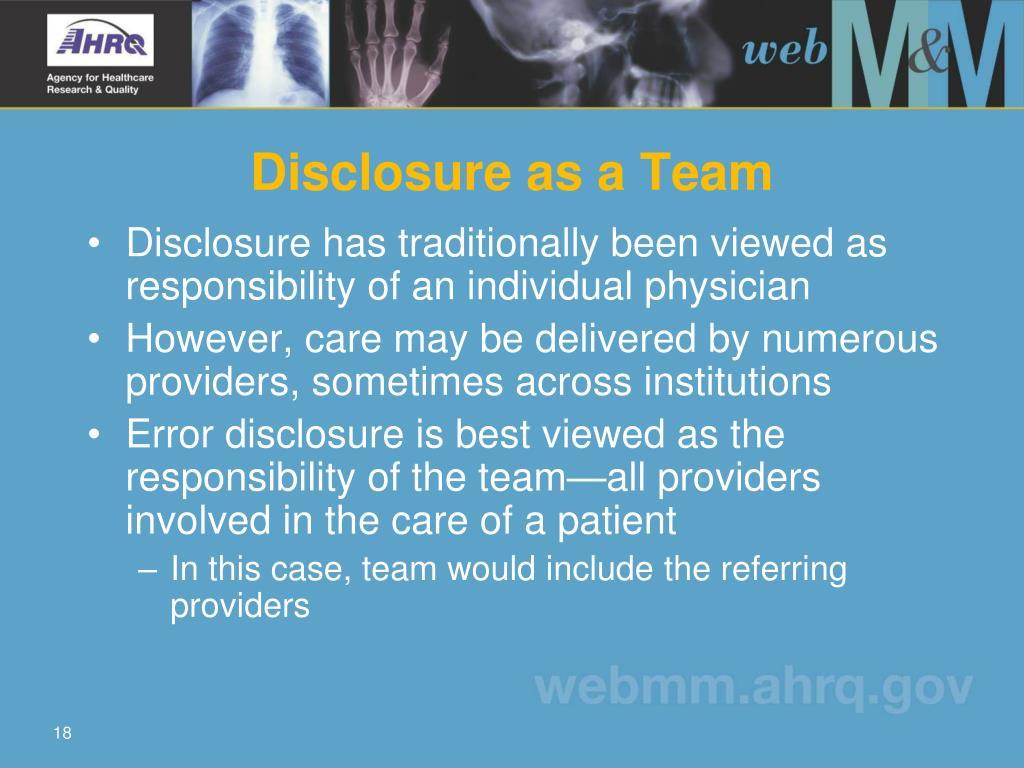 Disclosure as a Team