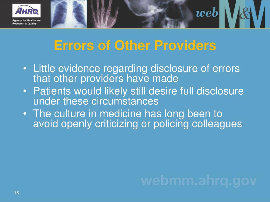 Errors of Other Providers