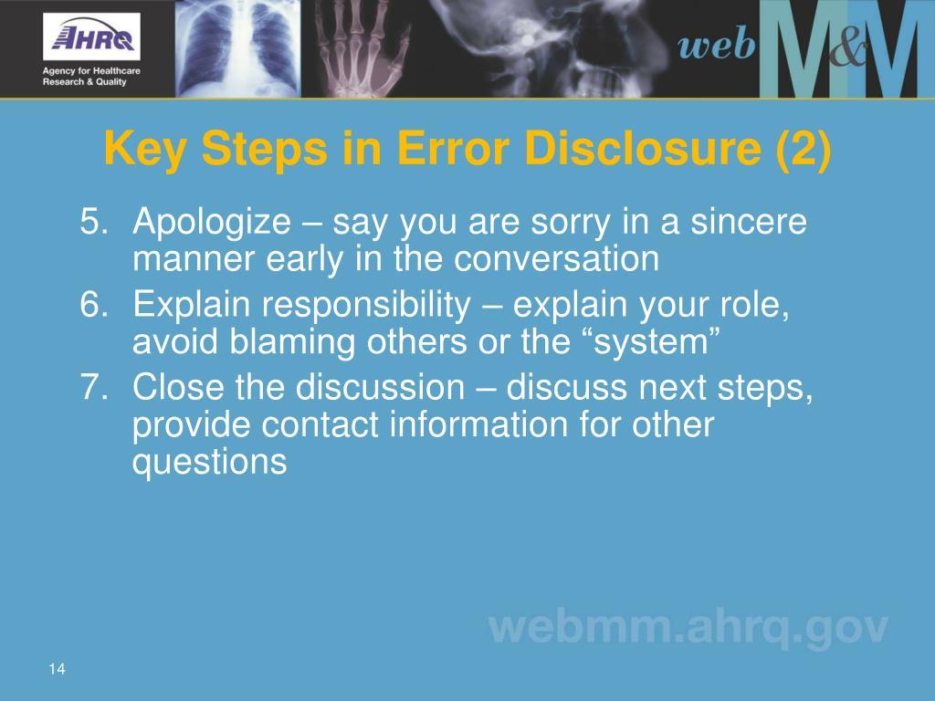 Key Steps in Error Disclosure (2)