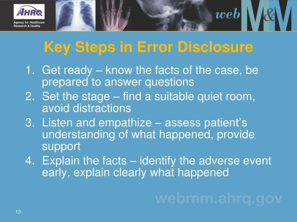 Key Steps in Error Disclosure