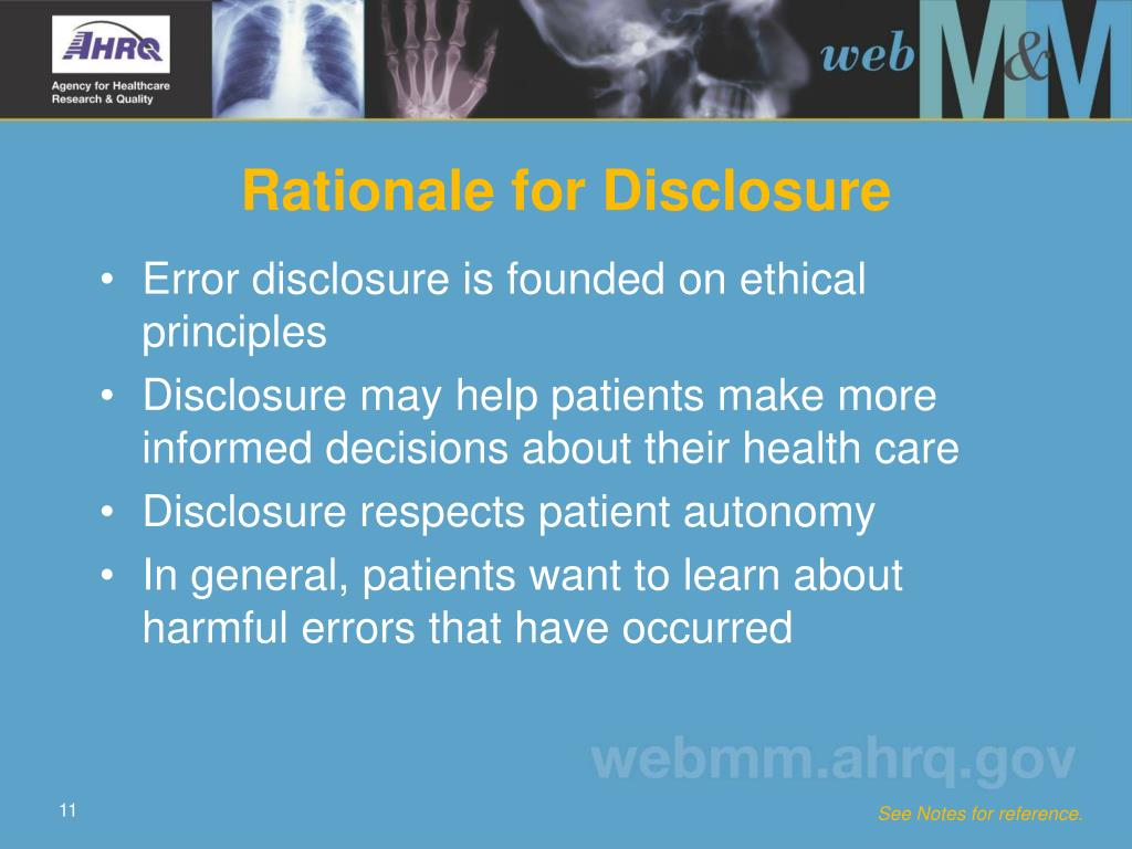 Rationale for Disclosure