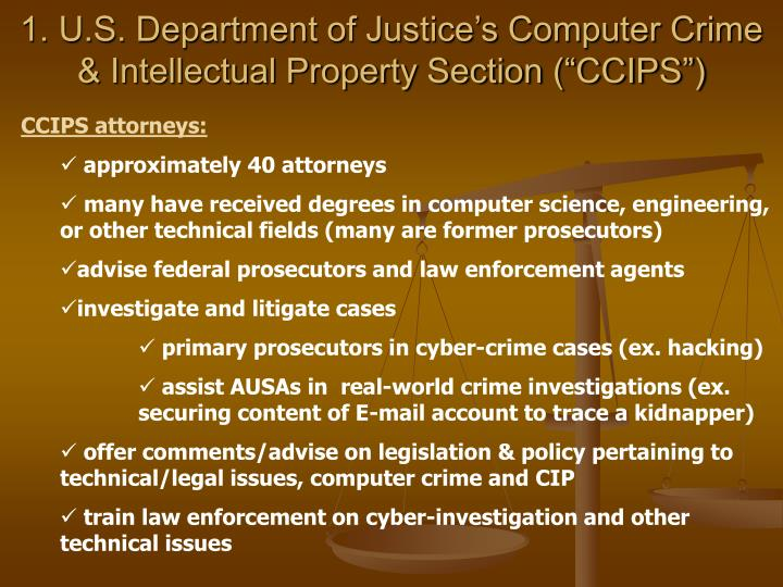 1 u s department of justice s computer crime intellectual property section ccips