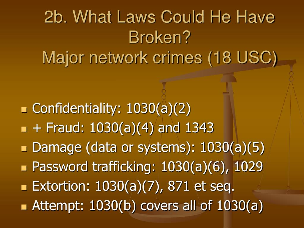 2b. What Laws Could He Have Broken?