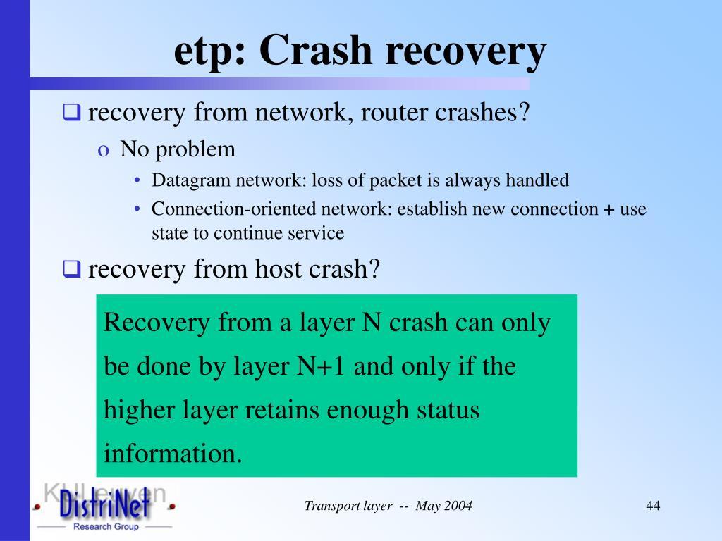 etp: Crash recovery
