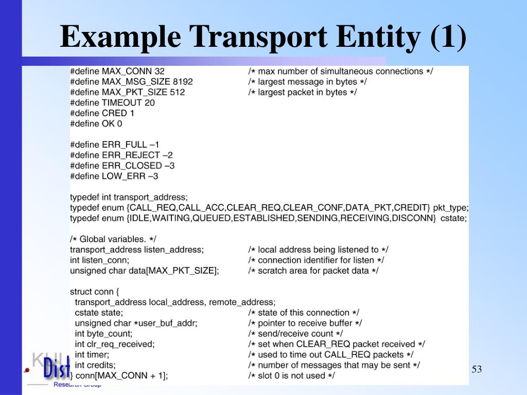 Example Transport Entity (1)