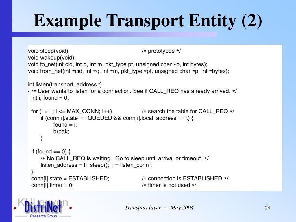 Example Transport Entity (2)