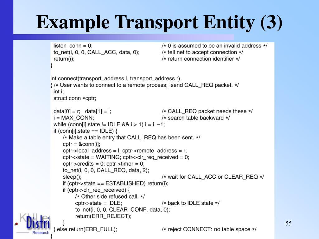 Example Transport Entity (3)