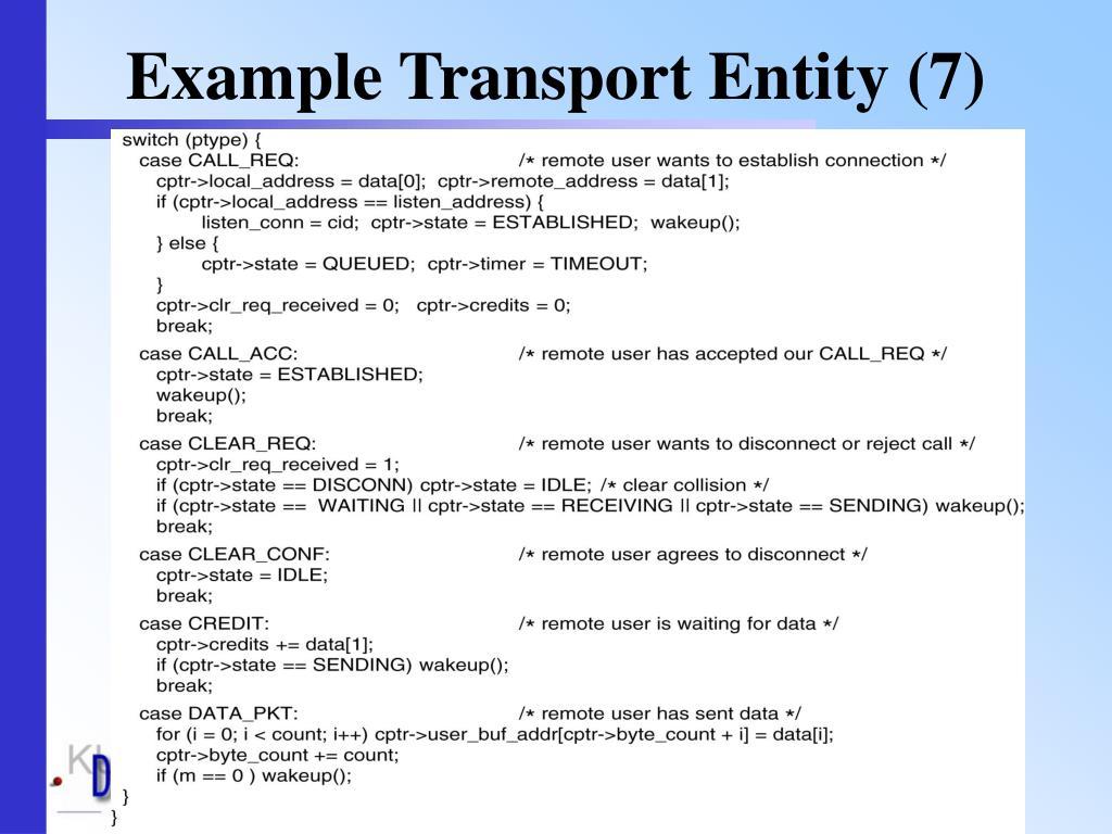 Example Transport Entity (7)