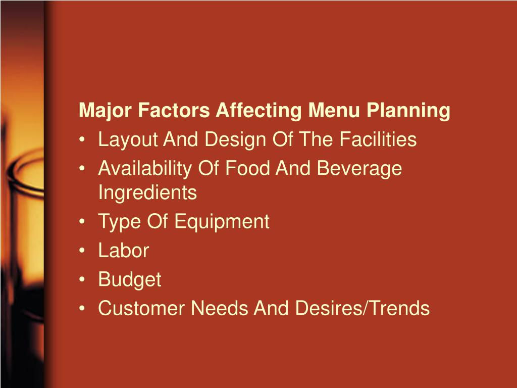 Major Factors Affecting Menu Planning