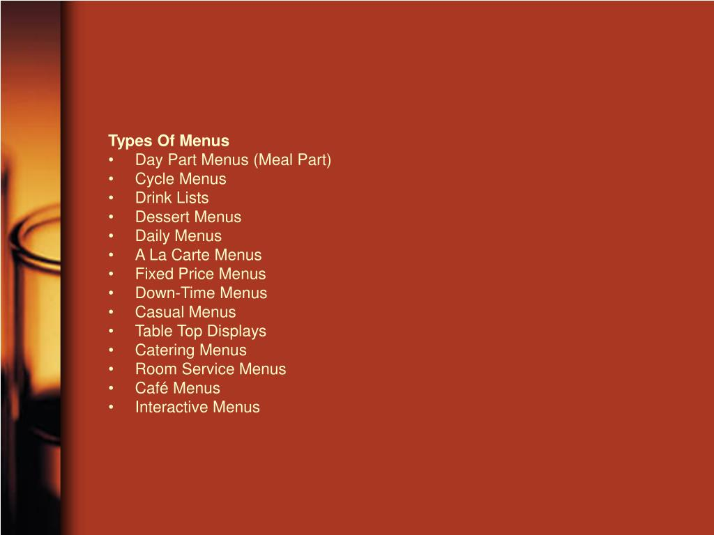 Types Of Menus
