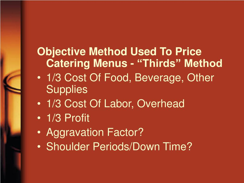 "Objective Method Used To Price Catering Menus - ""Thirds"" Method"
