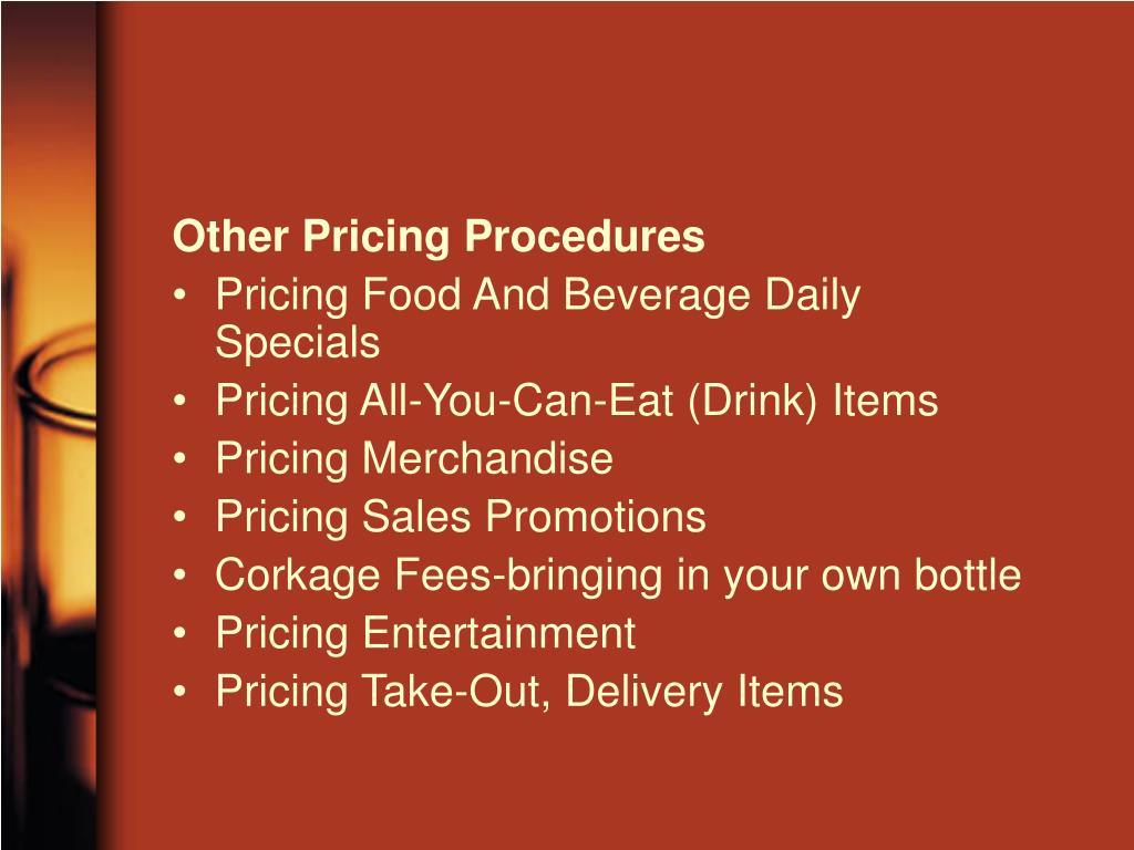 Other Pricing Procedures
