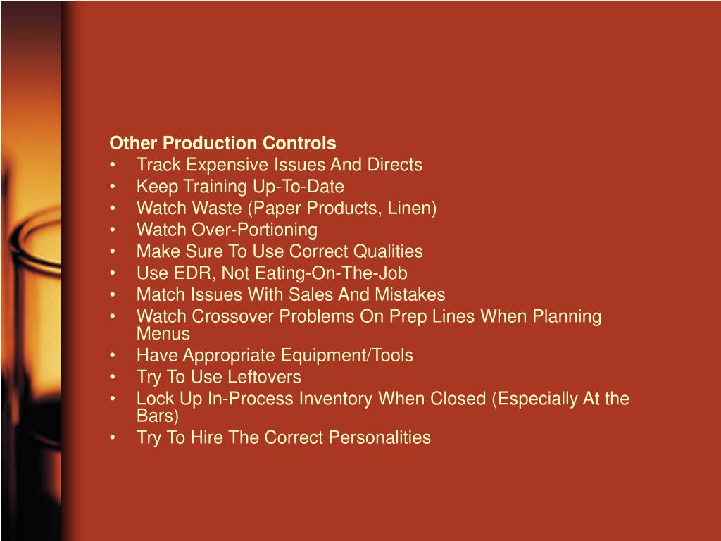 Other Production Controls