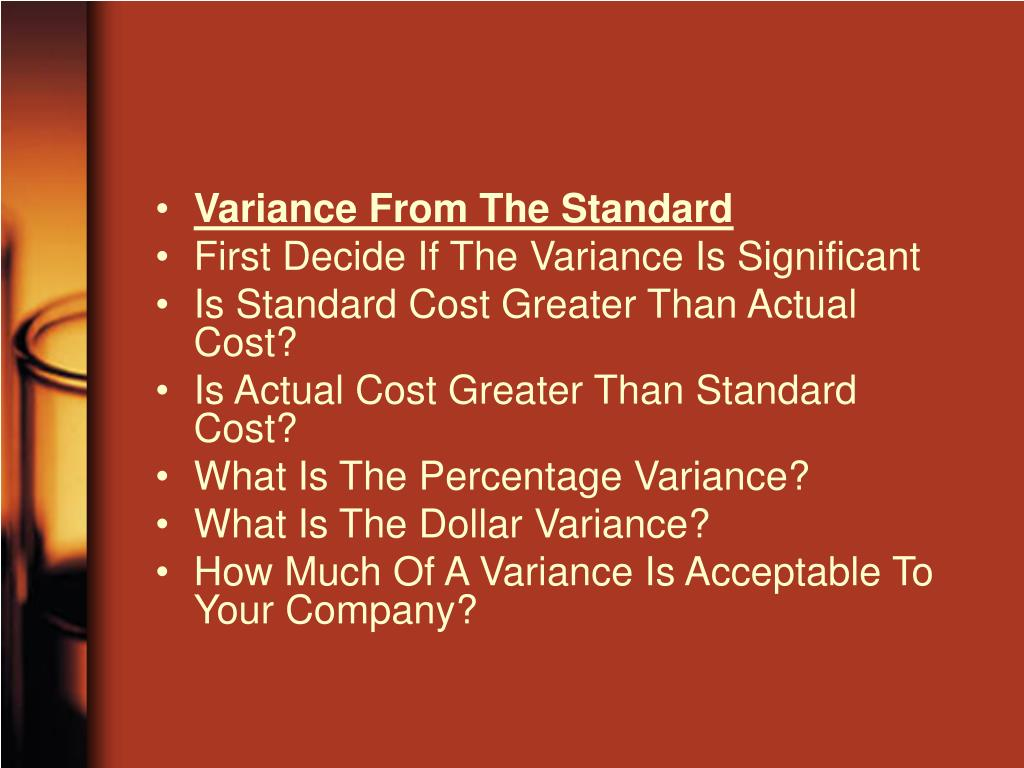 Variance From The Standard