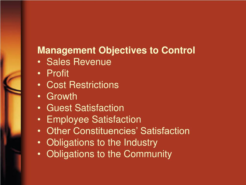 Management Objectives to Control