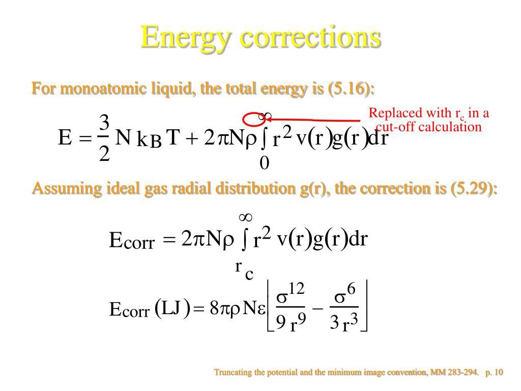 Energy corrections