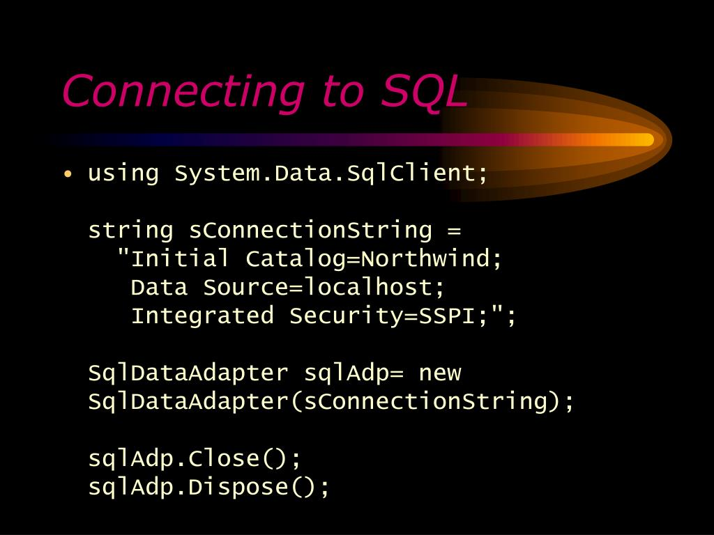 Connecting to SQL