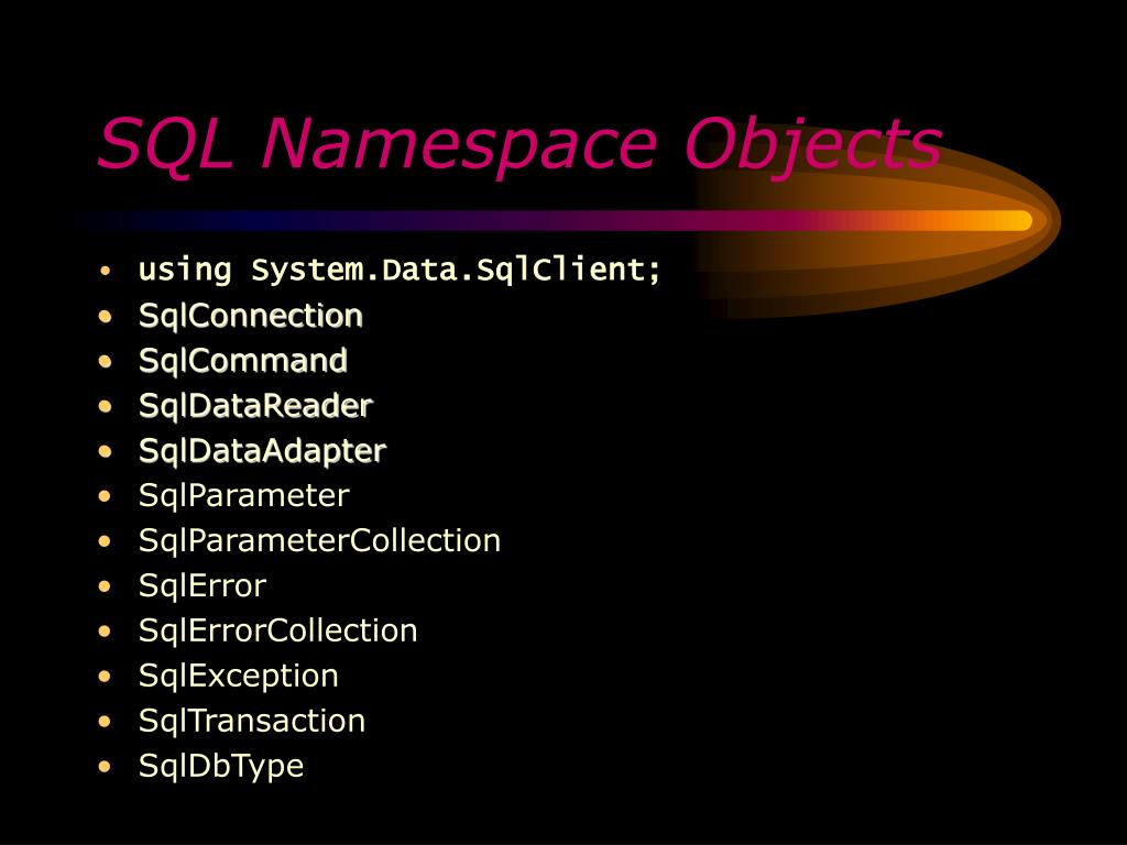 SQL Namespace Objects