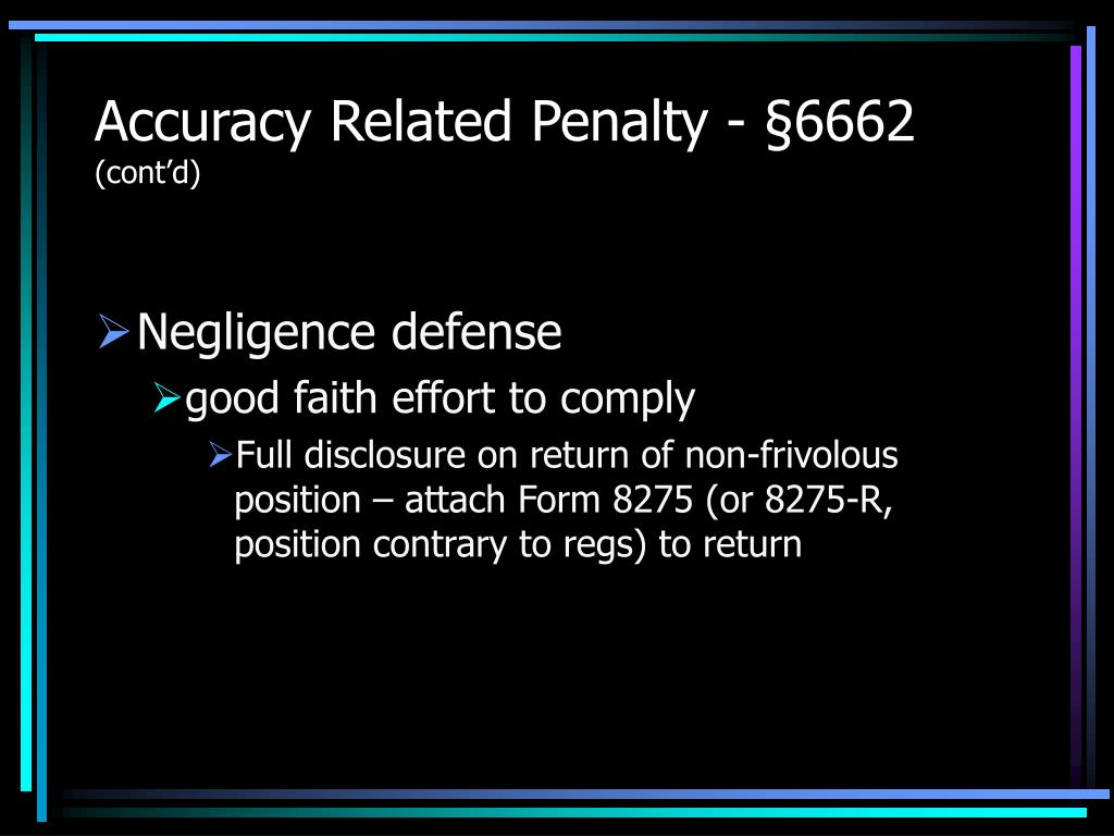 Accuracy Related Penalty - §6662