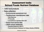 assessment tools school foods nutrient database
