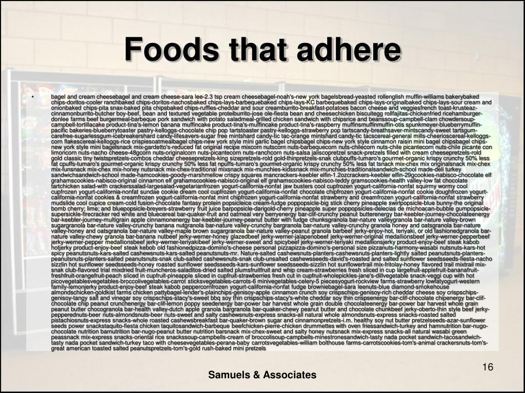 Foods that adhere