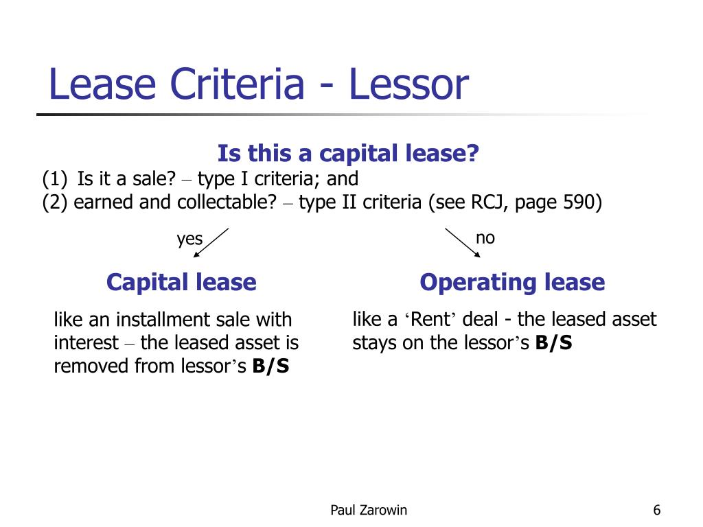 Lease Criteria - Lessor