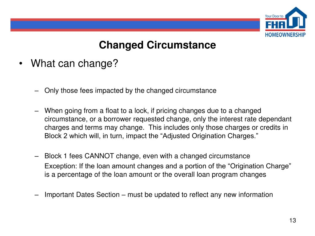 Changed Circumstance