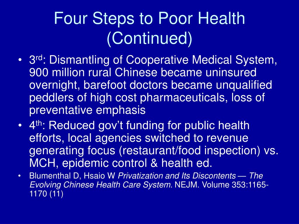 Four Steps to Poor Health (Continued)