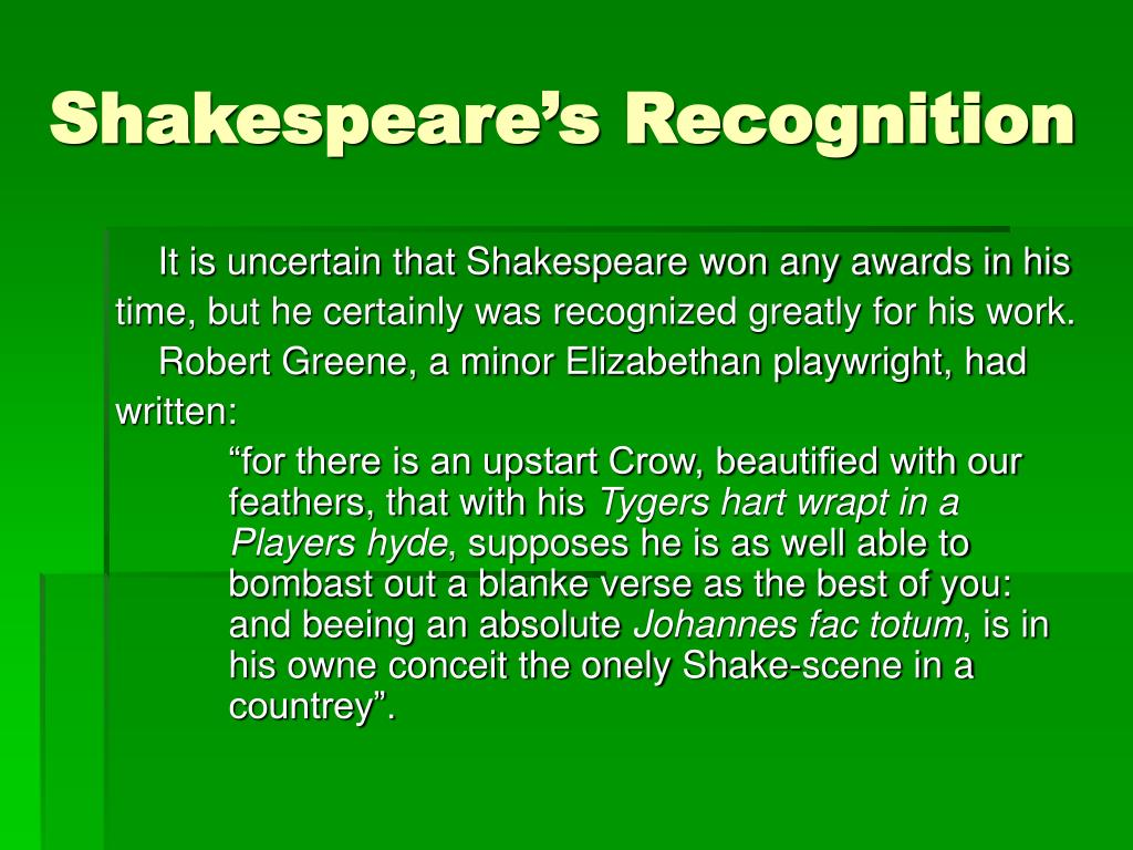 Shakespeare's Recognition