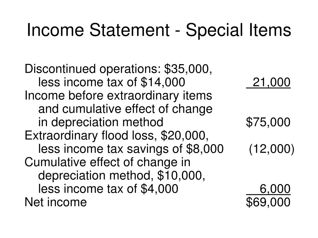 Income Statement - Special Items