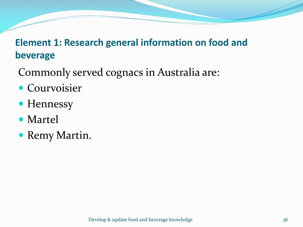 Element 1: Research general information on food and beverage