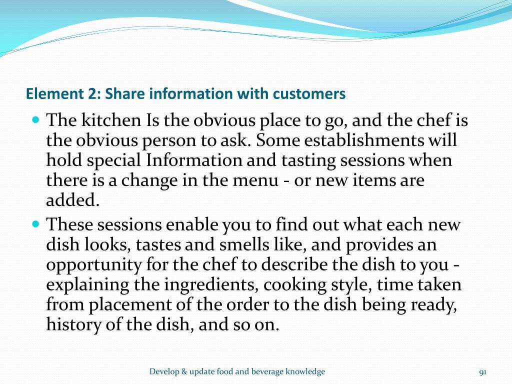 Element 2: Share information with customers