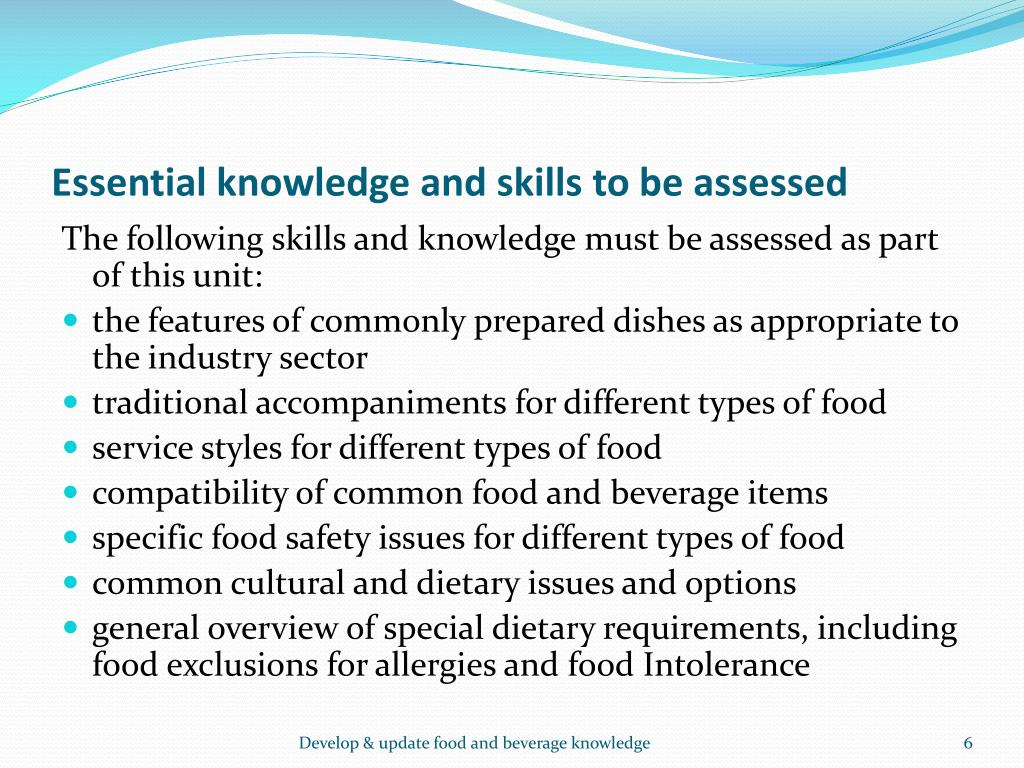 Essential knowledge and skills to be assessed