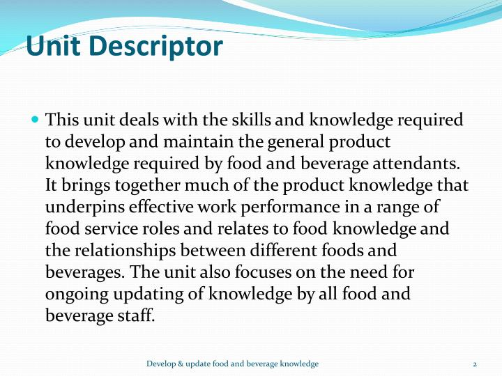 Unit descriptor