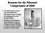 reasons for the missouri compromise of 1820