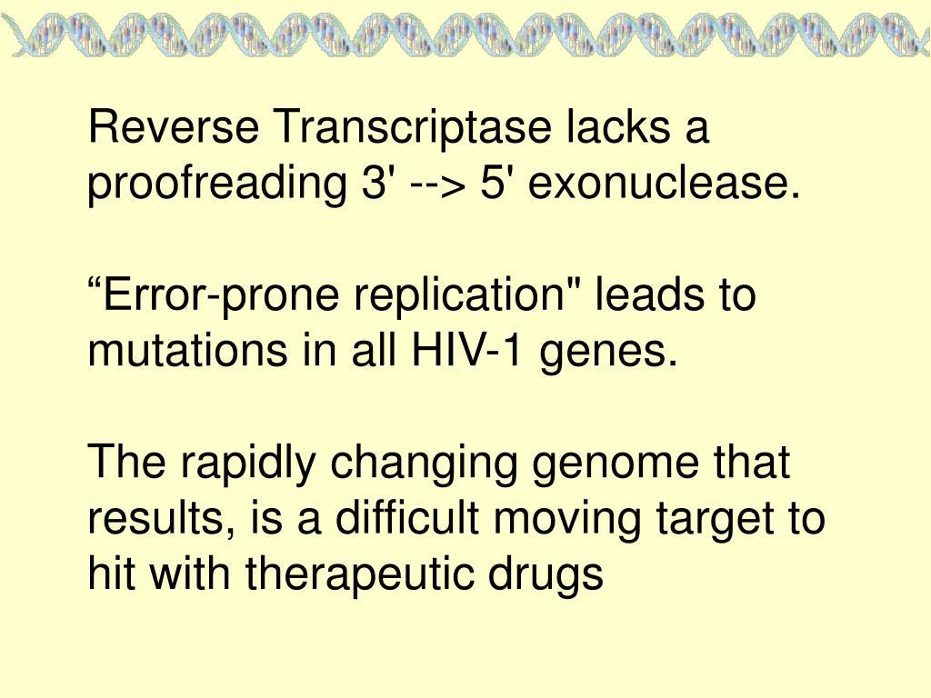 Reverse Transcriptase lacks a proofreading 3' --> 5' exonuclease.