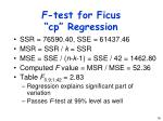 f test for ficus cp regression
