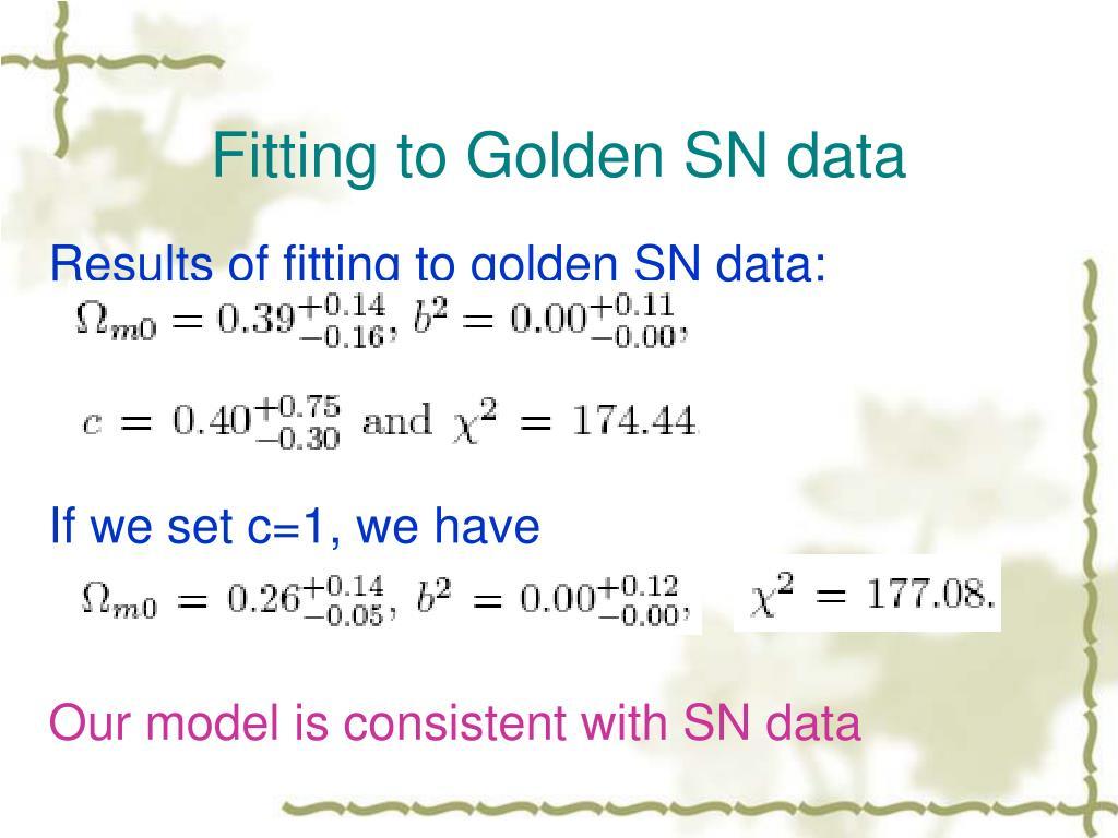 Fitting to Golden SN data
